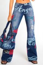 Deep Blue Street Print Split Joint High Waist Boot Cut Denim Jeans