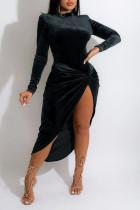 Black Elegant Solid Split Joint Fold Asymmetrical Half A Turtleneck Long Sleeve Two Pieces