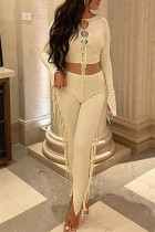 Apricot Fashion Sexy Solid Tassel Bandage O Neck Long Sleeve Two Pieces