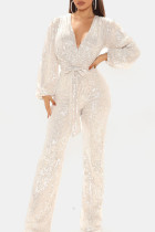 White Sexy Solid Split Joint With Belt V Neck Straight Jumpsuits