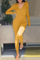 Yellow Casual Solid Split Joint Zipper Hooded Collar Regular Jumpsuits