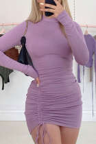 Purple Sexy Solid Split Joint Half A Turtleneck Pencil Skirt Dresses