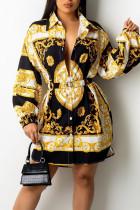 Black Yellow Casual Print Split Joint Buckle With Belt Turndown Collar Shirt Dress Dresses