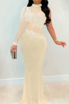 Apricot Fashion Sexy Patchwork Hot Drilling See-through Turtleneck Evening Dress