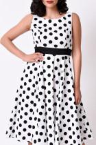 White Casual Dot Split Joint O Neck Cake Skirt Dresses