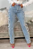 Light Blue Street Solid Ripped Make Old Split Joint High Waist Straight Denim Jeans