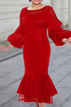 Red Fashion Patchwork Solid Hollowed Out See-through O Neck Long Sleeve Dresses