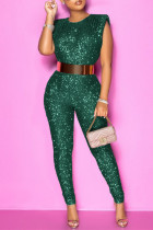 Green Fashion Sexy Solid Without Belt O Neck Regular Jumpsuits