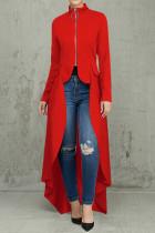 Red Casual Solid Split Joint Asymmetrical Zipper Irregular Dress Dresses