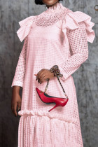 Pink Fashion Patchwork Tassel Hollowed Out See-through Half A Turtleneck Long Sleeve Two Pieces