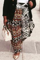 Multicolor Fashion Casual Print Basic Plus Size Trousers