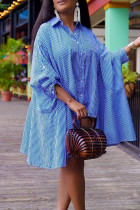 Blue Casual Striped Print Split Joint Buckle Turndown Collar Shirt Dress Dresses