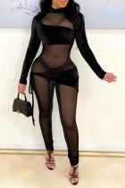 Black Sexy Solid Split Joint Mesh Half A Turtleneck Skinny Jumpsuits