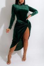 Ink Green Elegant Solid Split Joint Fold Asymmetrical Half A Turtleneck Long Sleeve Two Pieces