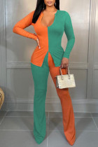 Orange Green Casual Solid Split Joint Slit U Neck Long Sleeve Two Pieces
