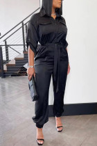 Black Casual Solid Split Joint Buckle Turndown Collar Straight Jumpsuits