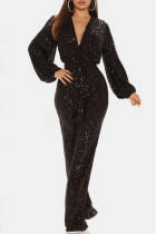 Black Sexy Solid Split Joint With Belt V Neck Straight Jumpsuits
