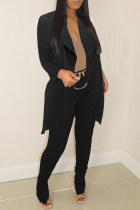 Black Fashion Casual Solid Cardigan Pants Turndown Collar Long Sleeve Two Pieces