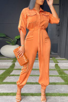 Tangerine Red Casual Solid Split Joint Buckle Turndown Collar Straight Jumpsuits