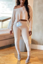 White Sexy Solid Split Joint Asymmetrical Oblique Collar Long Sleeve Two Pieces