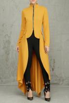 Yellow Casual Solid Split Joint Asymmetrical Zipper Irregular Dress Dresses