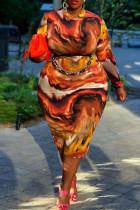 Orange Fashion Casual Print With Belt O Neck Long Sleeve Plus Size Dresses