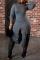 Dark Gray Sexy Solid Split Joint Half A Turtleneck Irregular Dress Dresses