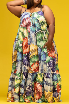 Colour Sexy Print Split Joint Spaghetti Strap Cake Skirt Plus Size Dresses