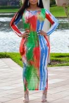 Colour Fashion Casual Print Tie-dye O Neck Long Sleeve Dresses