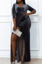 Grey Fashion Casual Plus Size Solid Slit V Neck Long Sleeve Evening Dress