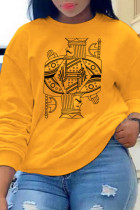 Yellow Casual Street Print Split Joint O Neck Tops