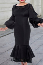 Black Fashion Patchwork Solid Hollowed Out See-through O Neck Long Sleeve Dresses