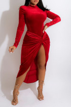 Red Elegant Solid Split Joint Fold Asymmetrical Half A Turtleneck Long Sleeve Two Pieces