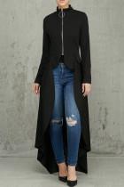 Black Casual Solid Split Joint Asymmetrical Zipper Irregular Dress Dresses