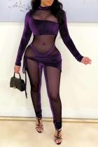 Purple Sexy Solid Split Joint Mesh Half A Turtleneck Skinny Jumpsuits