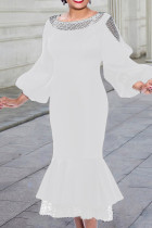 White Fashion Patchwork Solid Hollowed Out See-through O Neck Long Sleeve Dresses
