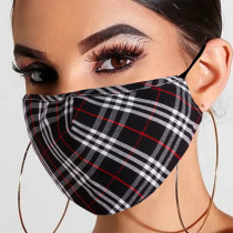 Black Fashion Plaid Print Split Joint Mask