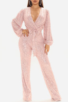 Pink Sexy Solid Split Joint With Belt V Neck Straight Jumpsuits