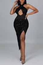 Black Sexy Solid Hollowed Out Split Joint Asymmetrical  Sequins Halter One Step Skirt Dresses