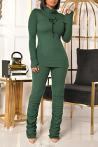 Green Casual Print Split Joint Fold Turtleneck Long Sleeve Two Pieces