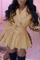Khaki Fashion Casual Print Split Joint Turndown Collar Long Sleeve Dresses