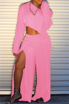 Pink Fashion Casual Solid Slit Oblique Collar Long Sleeve Two Pieces