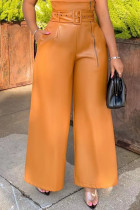 Yellow Street Solid Split Joint With Belt Straight High Waist Wide Leg Solid Color Bottoms