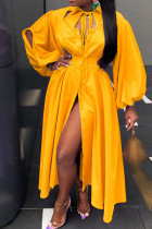 Yellow Casual Solid Hollowed Out Split Joint Frenulum Buckle Turndown Collar Shirt Dress Dresses