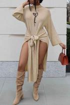 Beige Fashion Casual Print Slit Half A Turtleneck Long Sleeve Dresses