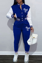 Blue Fashion Casual Letter Print Split Joint Long Sleeve Two Pieces
