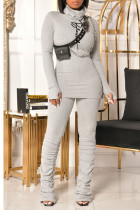 Grey Casual Print Split Joint Fold Turtleneck Long Sleeve Two Pieces