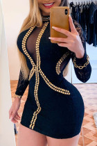 Black Sexy Solid Split Joint See-through Hot Drill Half A Turtleneck One Step Skirt Dresses