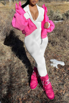 White Casual Solid Split Joint Zipper Regular Jumpsuits