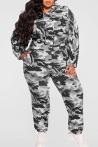 Grey Casual Print Camouflage Print Split Joint Hooded Collar Plus Size Two Pieces